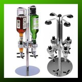 4 Heads Stainless Still Bar Butler Rotary Wine Juice Cocktail Dispenser