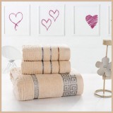 3pcs Pure Cotton Soft Towels Jacquard Weave APRICOT
