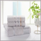 3pcs Pure Cotton Soft Towels Jacquard Weave GREY