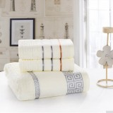 3pcs Pure Cotton Soft Towels Jacquard Weave WHITE