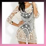 Sexy Lace Crochet Hollow Beach Wear Mini Dress