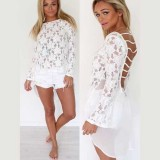 Lace Floral Patchwork Chiffon Dovetail Long Sleeve Backless