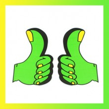 5 Pairs Green Yellow Replacing Thumb Design Stickers
