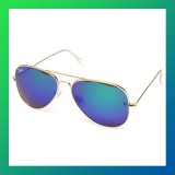 UV400 Silver Mirror Aviator Pilot Metal Frame Sunglasses-BLUE