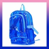 Transparent Clear Backpack Zipped Plastic-BLUE