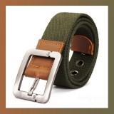 Canvas Square Alloy Buckle Woven Belt-KHAKI