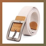 Canvas Square Alloy Buckle Woven Belt-WHITE