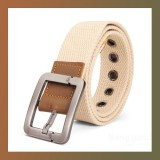Canvas Square Alloy Buckle Woven Belt-L BEIGE