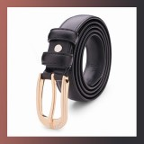 Diamond Genuine Leather Pin Buckle-BLACK