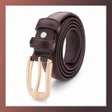Diamond Genuine Leather Pin Buckle-BROWN