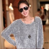 Fashion Women's Long Sleeve Crew Neck Fluffy Sweater Jumper Knit Wear Top