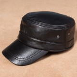 Leather Military Driving Sports Flat Cap