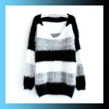 Autumn Winter Soft Mohair Striped Long Sleeve Knitted Pullover