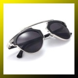 Vintage Christian Designer Fashion Retro Sunglasses (Unisex)SILVER/BLACK