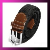 Men Stretch Braided Elastic Woven Leather Buckle Belt BLACK