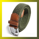 Men Stretch Braided Elastic Woven Leather Buckle Belt GREEN