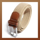 Men Stretch Braided Elastic Woven Leather Buckle Belt BEIGE