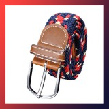 Men Stretch Braided Elastic Woven Leather Buckle Belt BLUE
