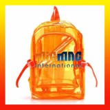 Transparent Clear Backpack Zipped Plastic-ORANGE
