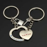 1 Pair Silver Key Lock Key Chains Heart Shaped