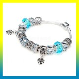 Blue Murano Glass Beads Crystal Bracelet