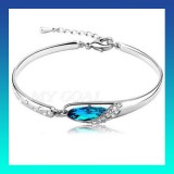 Costume Jewellery Silver Bracelet Crystal Rhinestone Bangle