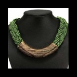 Statement Choker Necklace Gold Plated-GREEN
