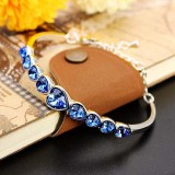 Austrian Crystal Heart Shaped Barcelet-BLUE