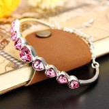 Austrian Crystal Heart Shaped Barcelet-PINK
