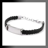 Stainless PU Leather Braided Bracelet-Set of 2