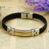 St/St Weave PU Leather Chain Bracelet