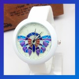 Butterfly 3 Rhinestone Silicone Quartz Watch