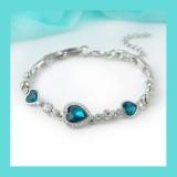 Lady Royal Ocean Heart Crystal Rhinestone Bangle