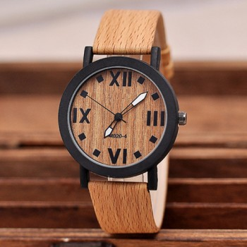 Vintage Wood Grain Roman Number Quartz Watch