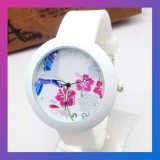 Flower Rhinestone Silicone Quartz Watch