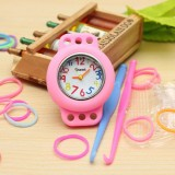 DIY Kid Craft Colorful Rubber Loom Bands Watch