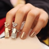 Crystal Butterfly Finger Nail Ring -Set of 3