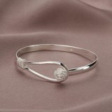 Silver Plated Rose Flower Bracelet