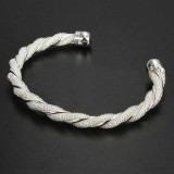 Solid Silver Twist Cuff Bangle