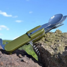 Outdoor Survival Stainless Steel Multifunction Tableware