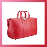 Leather-OVERNIGHT BAG-Fashion Weekender-Women-RED