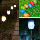 Solar Power Outdoor Tulip Colorful LED Lamp