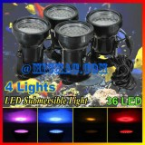 36 LED Underwater Submersible Colorful Light Pool-Set of 4